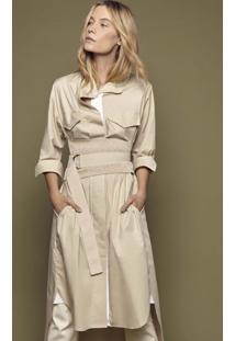 Vestido De Tricoline Com Bolsos E Gorgurões Francesca Branco