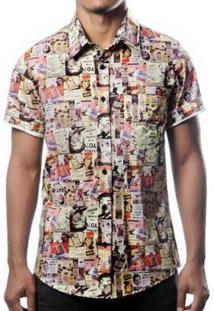 Camisa Camaleão Urbano Propaganda Retrô Masculina - Masculino-Bege