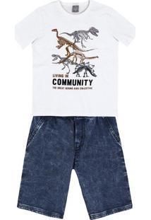 Conjunto Curto Infantil Menino Com Bermuda Jeans Hering Kids