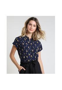 Camisa Feminina Cropped Estampada Floral Manga Curta Azul Marinho