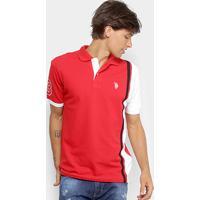 c20384ec82af5 Camisa Polo U.S Polo Assn Piquet Listras Patch Masculina - Masculino- Vermelho+Branco