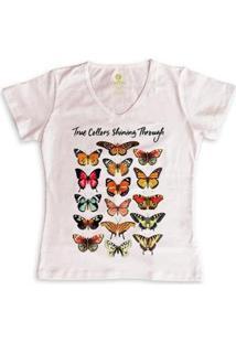 Camiseta Feminina Gola V Cool Tees Borboletas True Collors - Feminino-Rosa
