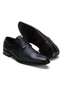 Sapato Masculino Social Reta Oposta Com Detalhe No Couro