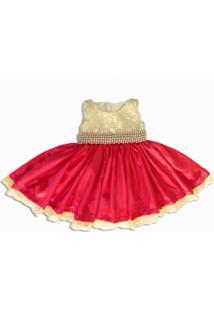 Vestido Infantil De Festa Daminha Liminha Doce Dourada