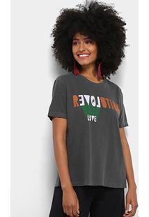 Camiseta Cantão Local Revolution Love Feminina - Feminino-Cinza Claro