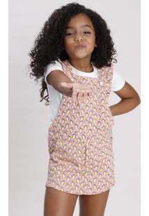 Jardineira Short Saia De Sarja Infantil Estampada De Limão Com Babado Rosa