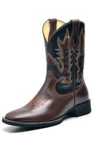 Bota Fidalgo Boots Texana Pull Up Mustang Cor Brown Preto Nelore Preto Vermelho