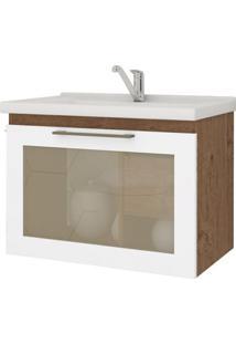 Gabinete De Banheiro Hibisco 1 Pt 1 Gv Amêndoa E Branco 59 Cm