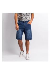 Bermuda Masculina Jeans Lavagem Escura Lisa