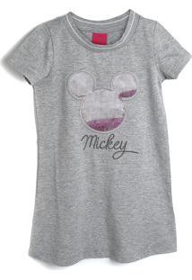 Vestido Disney Infantil Glitter Cinza