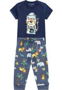 Conjunto Curto Bebê Menino Azul Marinho