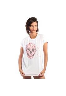 Camiseta Feminina Mirat Skull Petalas Branca