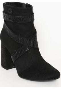 Ankle Boot Em Couro Com Termocolantes- Preta- Salto:Carmen Steffens