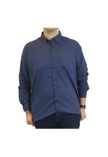 Camisa Linho Individual Slim Fit Premium Menswear Azul