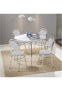 Conjunto Mesa 1504 Branca Cromada Com 4 Cadeiras 190 Fantasia Branco Carraro