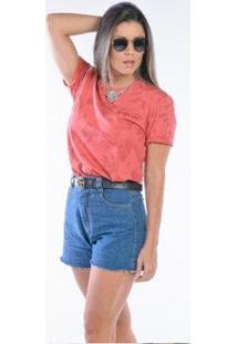 Camiseta Manga Curta Beautiful Soul Feminina - Feminino-Coral