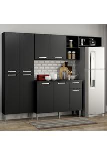 Cozinha Compacta Pequim 9 Portas Mp2933 Multimã³Veis Preto Preto - Preto - Dafiti