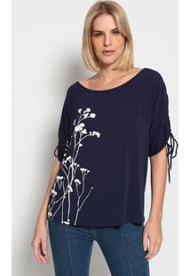 Camiseta Com Franzido- Azul Escuro & Brancaenna