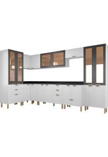 Cozinha Modulada 9 Peças Com Tampo Nevada 5648-Multimóveis - Branco Premium / Grafite Premium