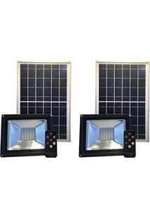Refletor Solar Led Holofote 20W Branco Frio Kit 2