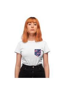 Camiseta Feminina Mirat Bolso Estampado Folhagem Branco