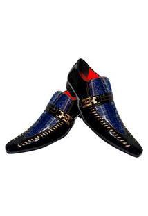 Sapato Masculino Italiano Social Executivo Em Couro Art Sapatos Azul Croco