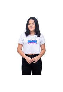 Camiseta Cropeed Feminino Skate Thrasher - Branco