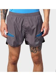 Shorts Masculino Running Laser Cinza/Azul Escuro G - Speedo