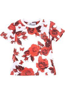 Camiseta For Princess Estampada Floral Vermelho/Branco