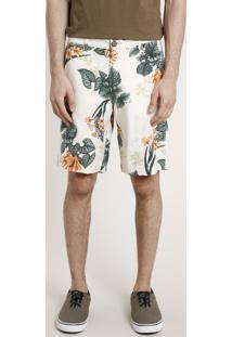 Bermuda Masculina Estampada Floral Com Linho Bege Claro