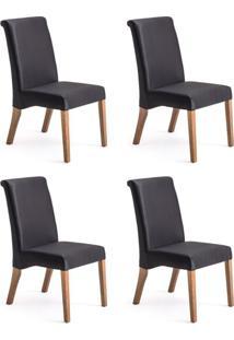 Conjunto Com 4 Cadeiras De Jantar Prime Preto E Imbuia
