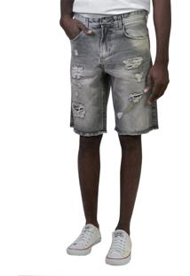 Bermuda Jeans Slim Preta Destroyed Yck'S