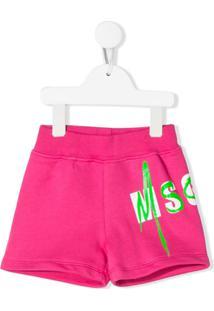 Msgm Kids Bermuda Esportiva Com Estampa De Logo - Rosa