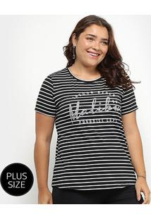 Camiseta City Lady Listrada Malibu Paradise Feminina - Feminino-Preto+Branco