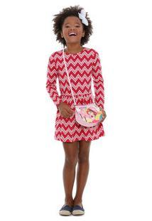 Vestido Infantil Chevron Corações Marisa