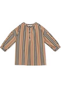 Burberry Kids Icon Stripe And Vintage Check Blouse - Neutro