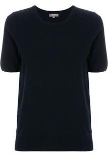 N.Peal Camiseta De Cashmere Decote Arredondado - Azul