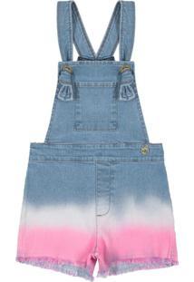 Jardineira Jeans Infantil Feminina Azul
