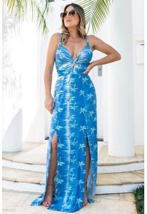 Vestido Longo Viscolycra Fenda Dupla Busto Trançado Azul