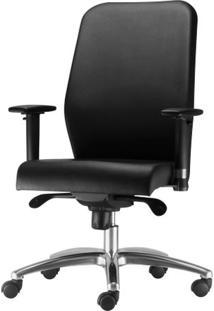 Cadeira Pointer Premium Presidente Assento Courino Preto Base Arcada Em Aluminio - 54845 Sun House