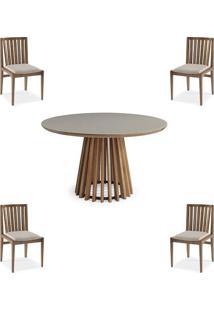 Conjunto Mesa Tampo Off White + Cadeiras Brisa Encosto Ripado - 60479 - Sun House