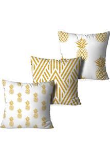 Kit 3 Capas Para Almofadas Decorativas Love Decor Abacaxis Multicolorido Branco