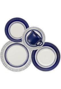 Aparelho De Jantar Cerâmica Actual Colb Biona By Oxford 30 Peças - Unissex-Azul+Branco