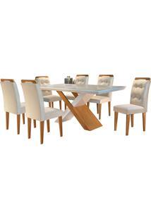 Conjunto De Mesa Para Sala De Jantar Tampo De Vidro Com 6 Cadeiras Doris-Rufato - Veludo Creme / Off White / Imbuia