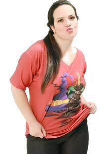 Camiseta Caldeirão De Bruxa Plus Size Vickttoria Vick Plus Size Vermelho
