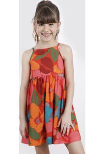 Vestido Infantil Salinas Tal Mãe Tal Filha Estampado Floral Alças Finas Vermelho