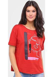 Camiseta Sommer Básica La Femme Feminina - Feminino-Vermelho