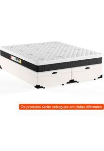 Cama Box Queen Premium Com Baú Corino Branco Com Colchão Black White D45 Branco