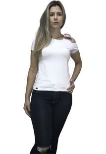 Camiseta Hifen Com Abertura No Ombro Branco