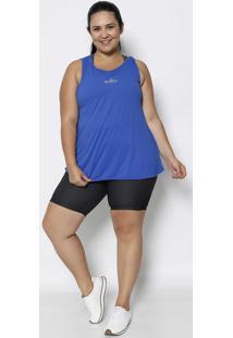 Blusa Alongada Com Inscriã§Ã£O - Azul Escuro - Physicaphysical Fitness